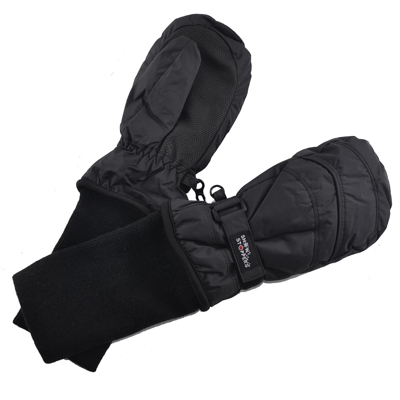 SnowStoppers Kids Waterproof Stay On Winter Nylon Mittens Medium 2-5 Years Black