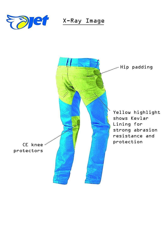 50 Corto//Cintura 34 Longitud 30 L , Negro JET Pantalon Moto Hombre Jeans Kevlar Aramid Con Armadura
