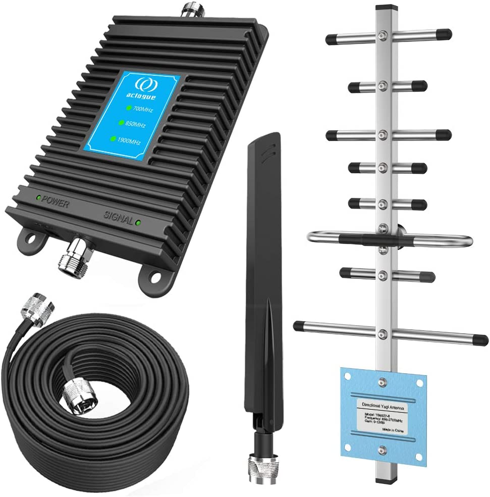 Verizon Cell Phone Signal Booster AT&T, Sprint Band 2/5/13 Phone Signal Repeater Amplifier for Home and Office up to 4000 Sq Ft Improve Internet Connections, Calls and Text (Black)