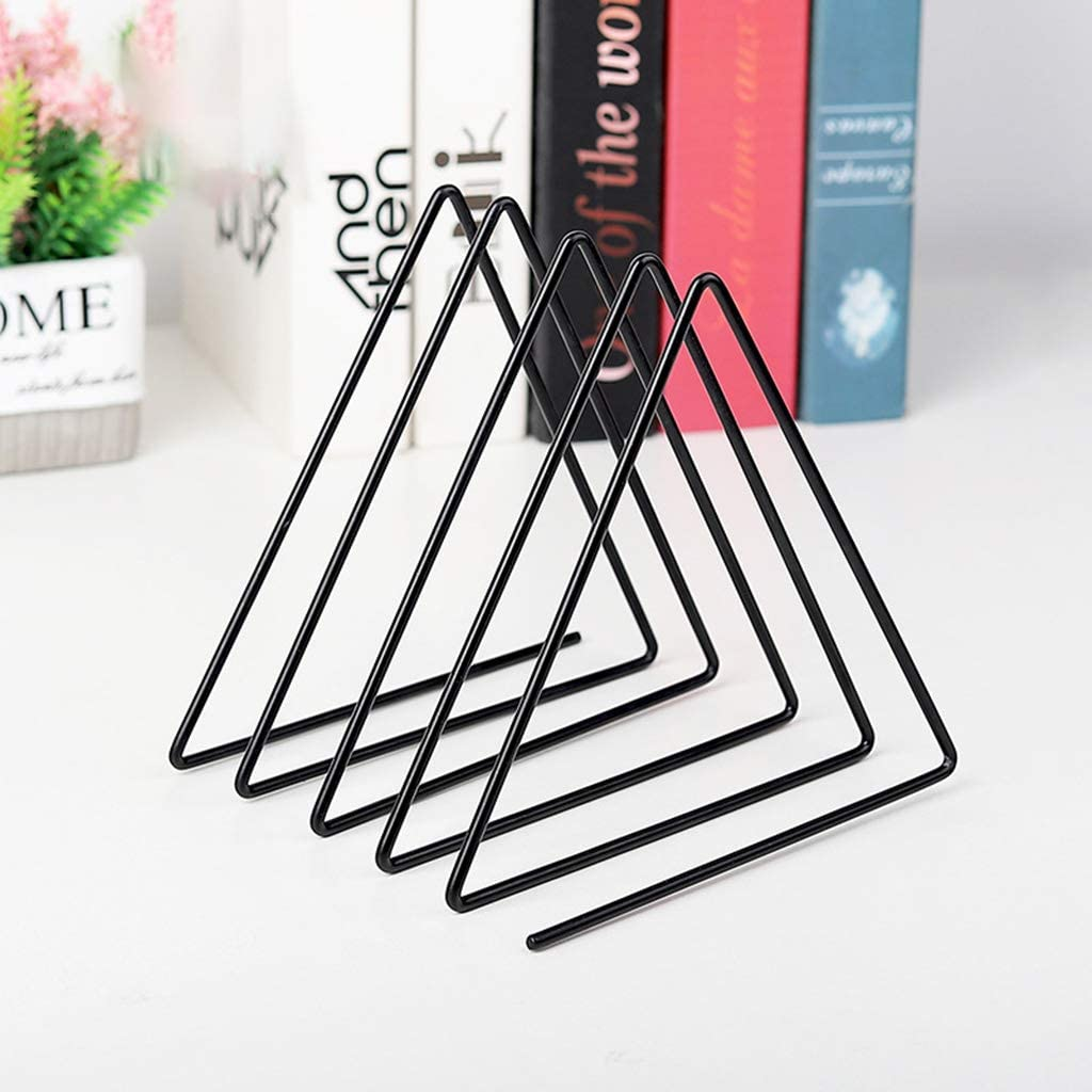 luosh Book Storage Rack Newspaper Magazine Holder Document File Stand Triangle Shape Desktop BookShelf Decor
