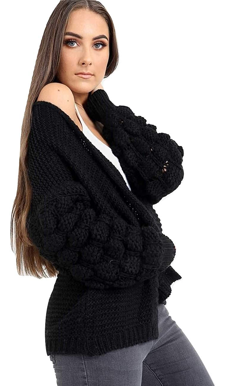 65fe745453 Amazon.com  Momo Ayat Fashions Ladies Bobble Sleeve Overszied Chunky Knitted  Open Front Cardigan US Size 4-10  Clothing