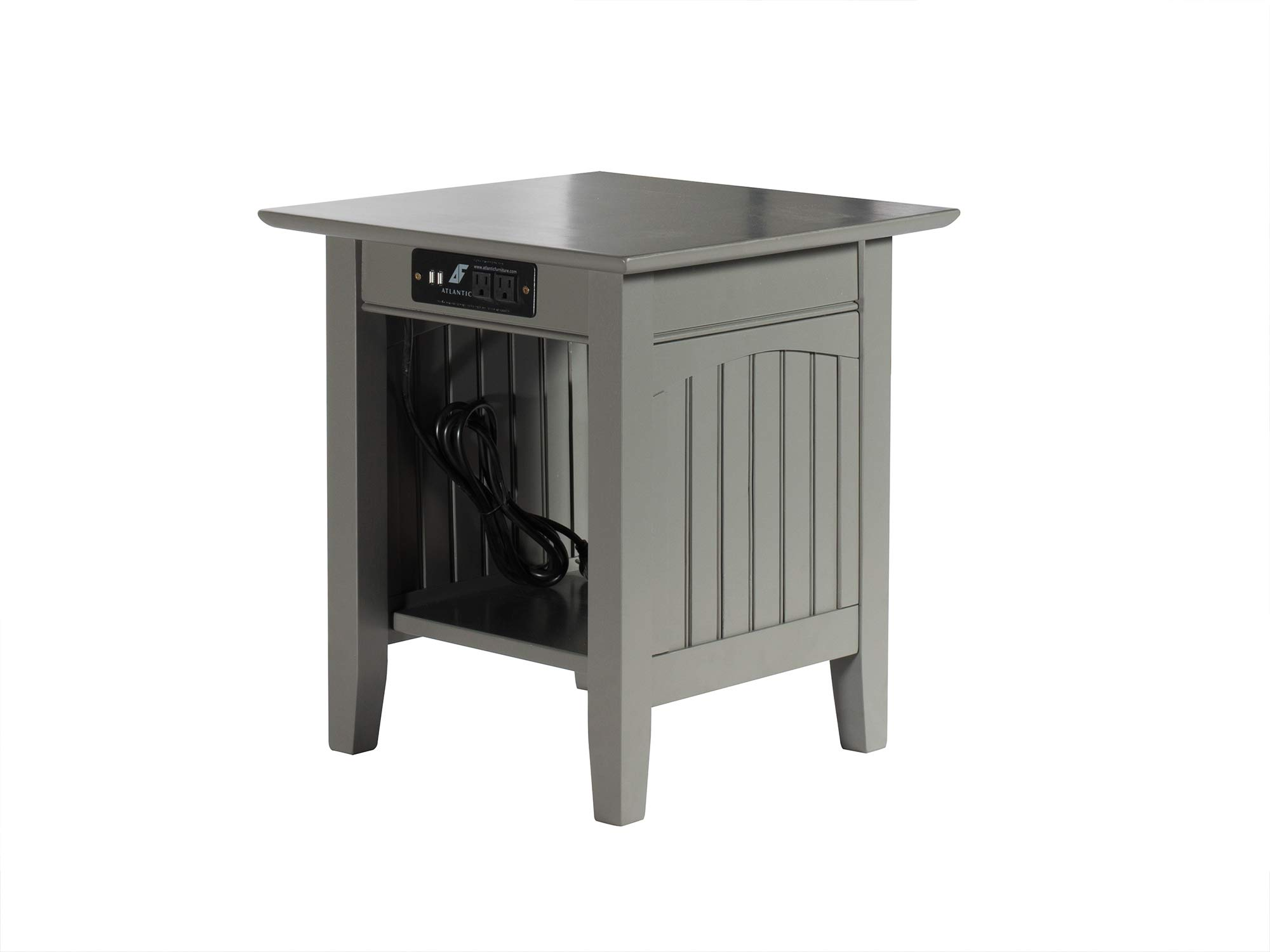 Atlantic Furniture AH14319 Nantucket End Table with Charging Station, Grey