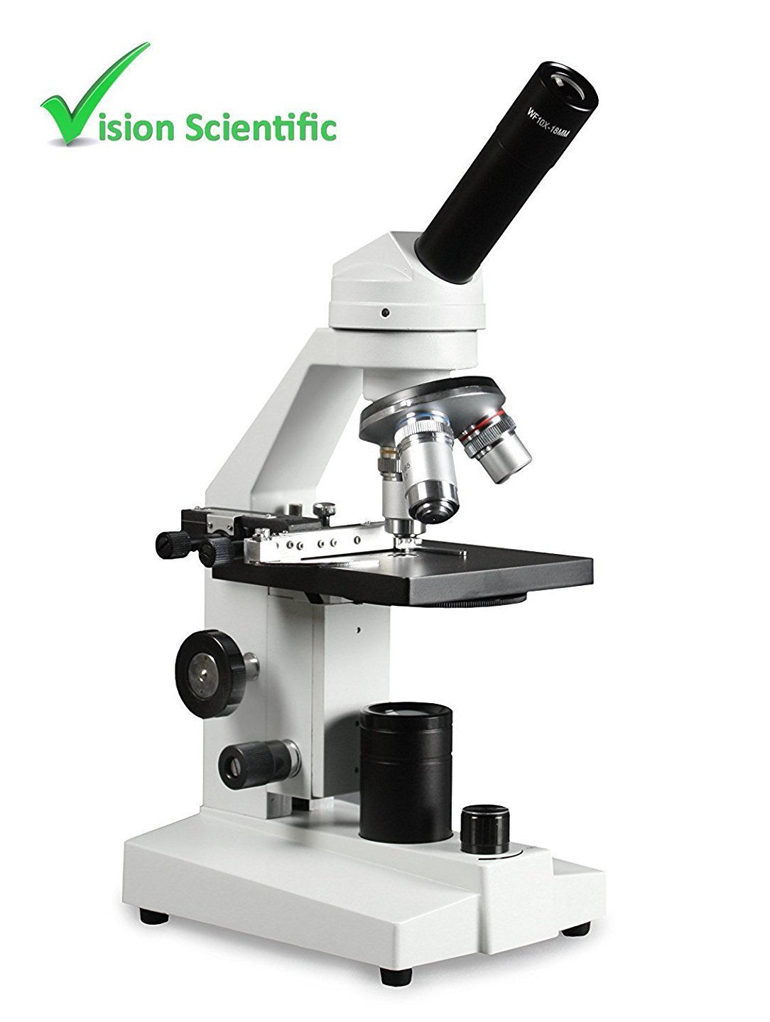 Vision Scientific VME0020-E3-MS2 Student LED Microscope, 10x WF and 25x WF Eyepiece, 40x-1000x Magnification, LED Illumination with light intensity control, Mechanical Stage, Coarse and Fine Focus