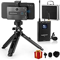 Wireless Lavalier Microphone Mobile Professional Lavalier Wireless System Smartphone Wireless Lapel Microphone-UHF 20 Channels with Built-in Chargeable Battery+Tripod for iOS & Android Phone-ZHUOSHENG