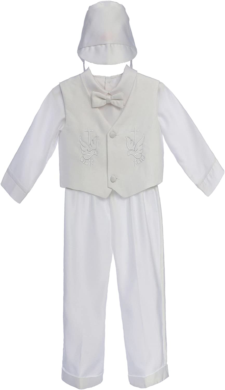 0M-36M Unotux Baby Boy Christening Baptism White Long Vest Set Suit