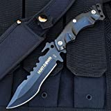 10-Hunt-Down-Tactical-Fixed-Blade-Half-serrated-Black-Stainless-Steel-Survival-Hunting-Knife-Includes-FREE-LED-KeyChain-Gift
