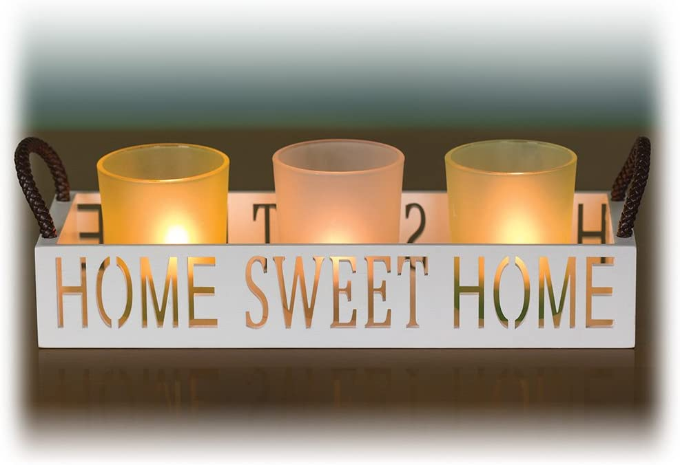 Dawhud Direct Home Sweet Home 3 Glass Candle Holder Set, LED Tealights and Decorative Tray