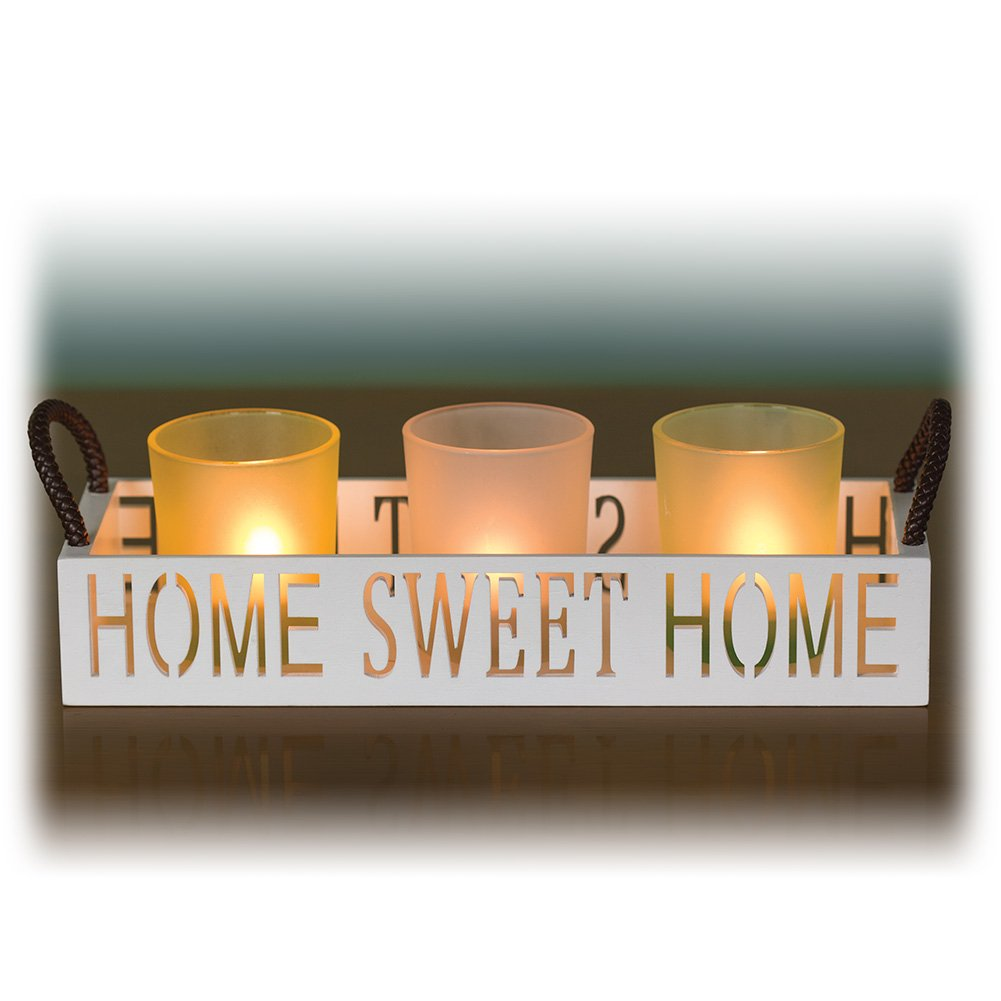 Home Sweet Home 3 Glass Candle Holder Set, LED Tealights and Decorative