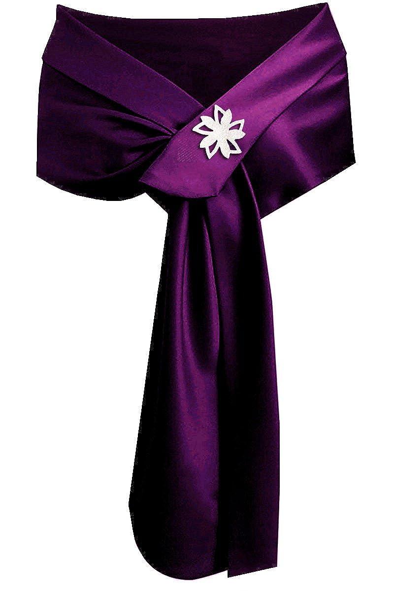 Purple Satin Shawl Wrap Wedding Silky Shrug for Women's Formal Party ShawlxFF08;With a BroochxFF09;