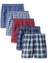 Fruit of the Loom 5Pack Boy's Plaid Boxers Boxer Shorts Kids Underwear L
