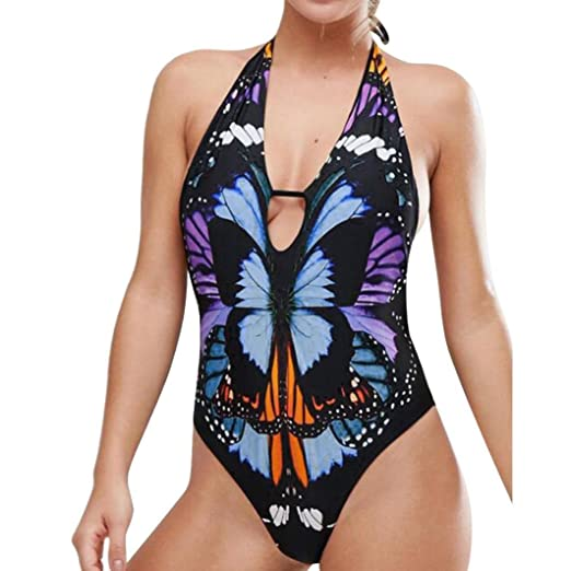 9486379401 Paymenow Women's Swimwear Sexy Floral Butterfly Printed Cut Out Wrap Halter  One Piece Swimsuit Monokini Bathing