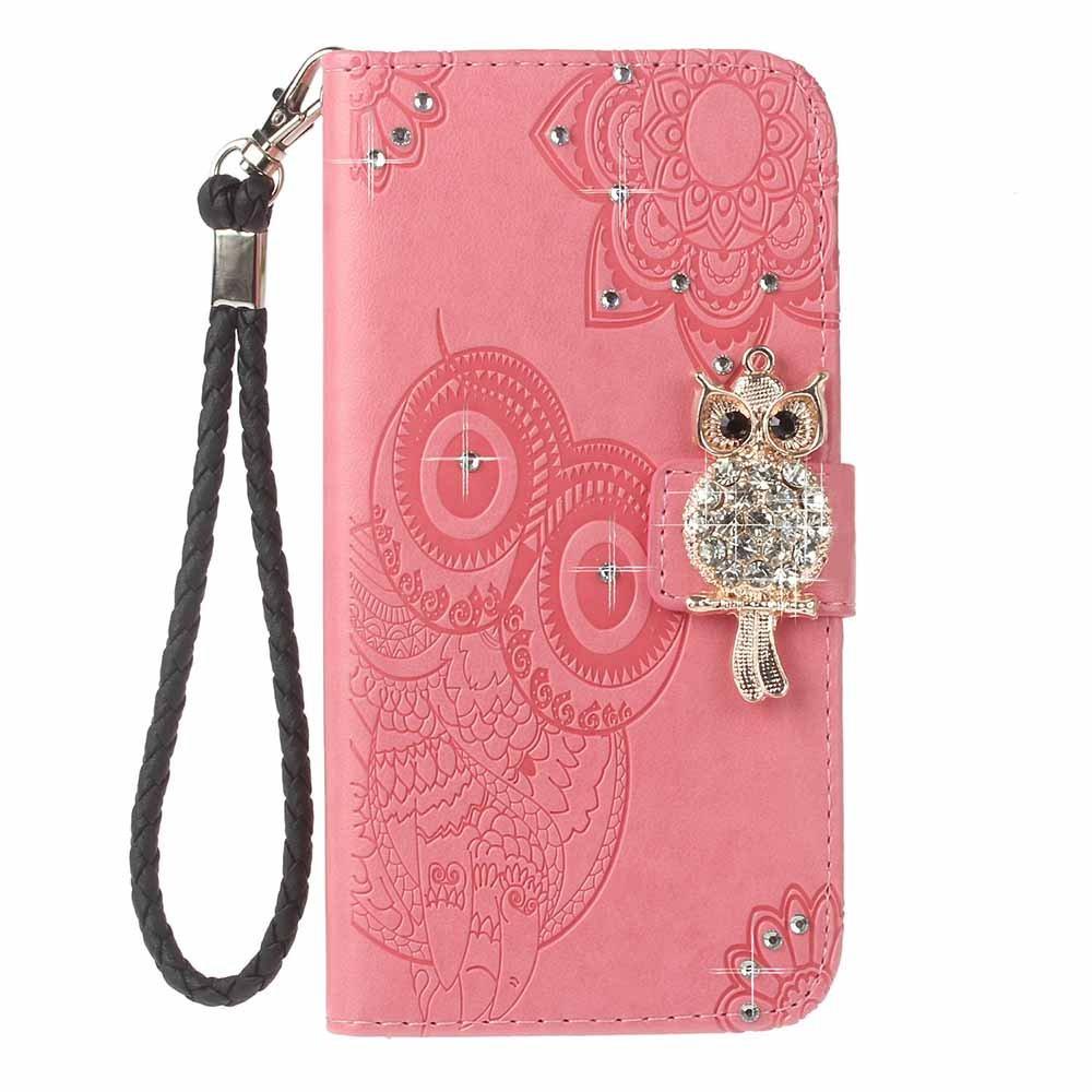Funda Galaxy S9, COOSTOREEU 3D Glitter Gems Owl y mandala en relieve Premium PU Leather tarjeta de la ranura de magnético Flip Cartera ,Rosa: Amazon.es: ...