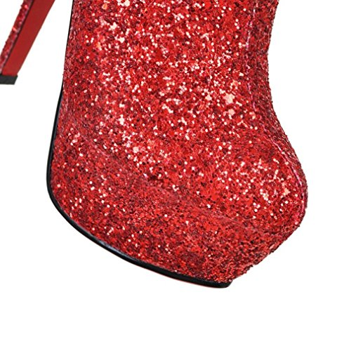 ENMAYER Damen Funkeln Material Schuhe Dünne High Heels Winter-Stiefeletten Party & Hochzeit Spitzschuh Stiefel Rot