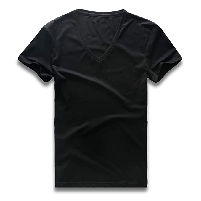 dc9a43bf092d Zecmos V Neck T Shirts Mens Short Sleeve Slim Fit Casual Basic Tee Cotton  437-