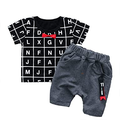 56cfe6fa59d89 Dudu Diary Boy's Cotton Attached Tie Text Print T-Shirt and Pant Set Black  for