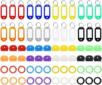 Assorted Colors 96 Pieces Key Cap Covers Kit Silicone Key Covers Silicone Key Tag Key Covers Metal Key Rings Identifiers for Keys Organization