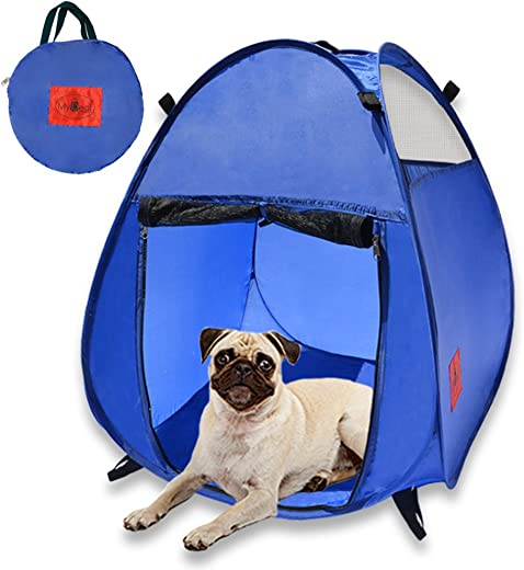 MyDeal Pop Up Pet House in a Bag for Portable Play Pen or Kennel Tent with 3 Net Windows and Zipper Door for Shade, Shelter and Safety Perfect for Dog, Cat, Rabbit More