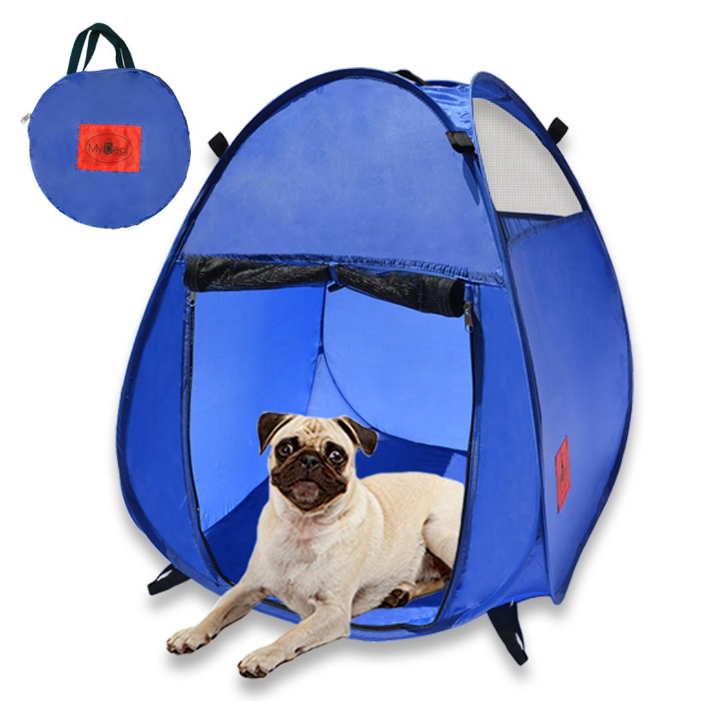 MyDeal Pop Up Pet House in a Bag for Portable Play Pen or Kennel Tent with 3 Net Windows and Zipper Door for Shade , Shelter and Safety . Perfect for Dog , Cat , Rabbit + More