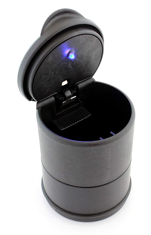 HUKITECH@ posacenere da auto per portabevande con coperchio e con retroilluminazione a LED blu automatica – universale portatile, antiscivolo, nero 6,5 x 9,5 cm