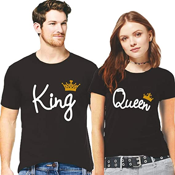 f3e9b9bd Men's and Women's Hangout Hub King Queen with Crown Printed Cotton Couple T- shirt (