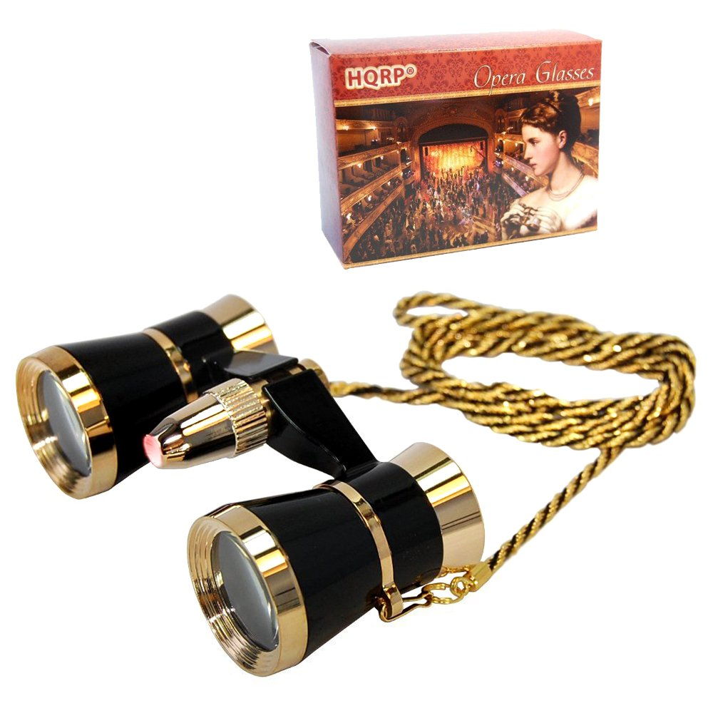 HQRP Theater Glasses Binoculars with Red Reading Light, Black with Gold Trim w/ Necklace Chain 88466710119093