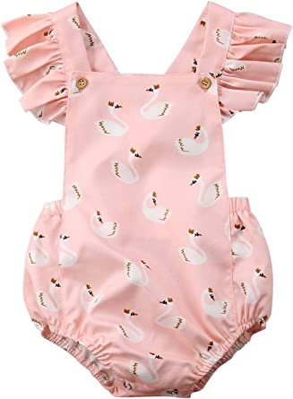 Toddler Boys Girl Crib Rompers Buttons Casual Cute Animal Print Home Costume US