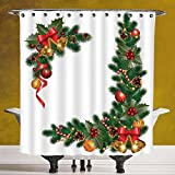 Durable Shower Curtain 3.0 [Christmas,Noel Decorations Themed Fir Tree with Ornaments Classical New Year Concept,Green Golden] Waterproof and Mildewproof Polyester Fabric Bath Curtain Design