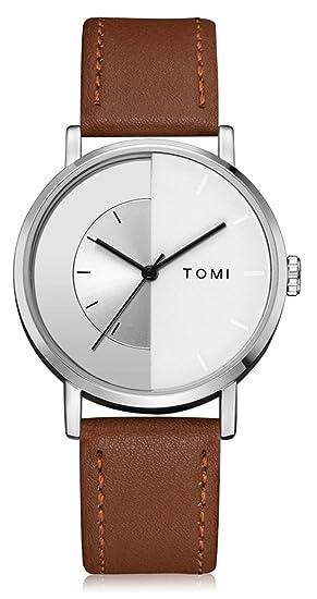 SBIAO Hombres Relojes Moda Gama Alta Cinturón de PU Creativo Personalidad Cuarzo Relojes, 006: Amazon.es: Hogar