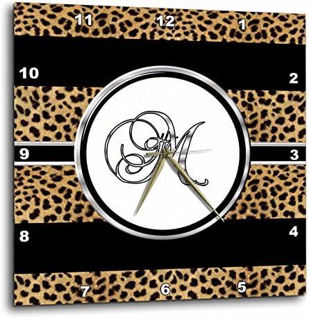 3dRose DPP_180682_1 Elegant Cheetah Animal Print Monogram Letter M Wall Clock, 10 by 10