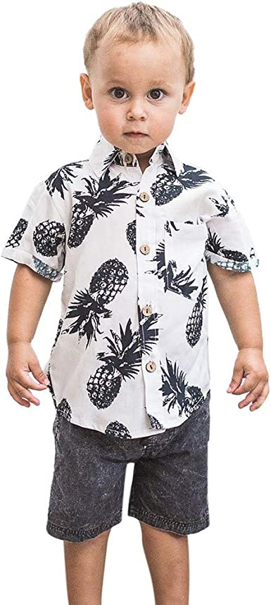 Camisa de Manga Corta con Estampado de piña para niño Blanco ...