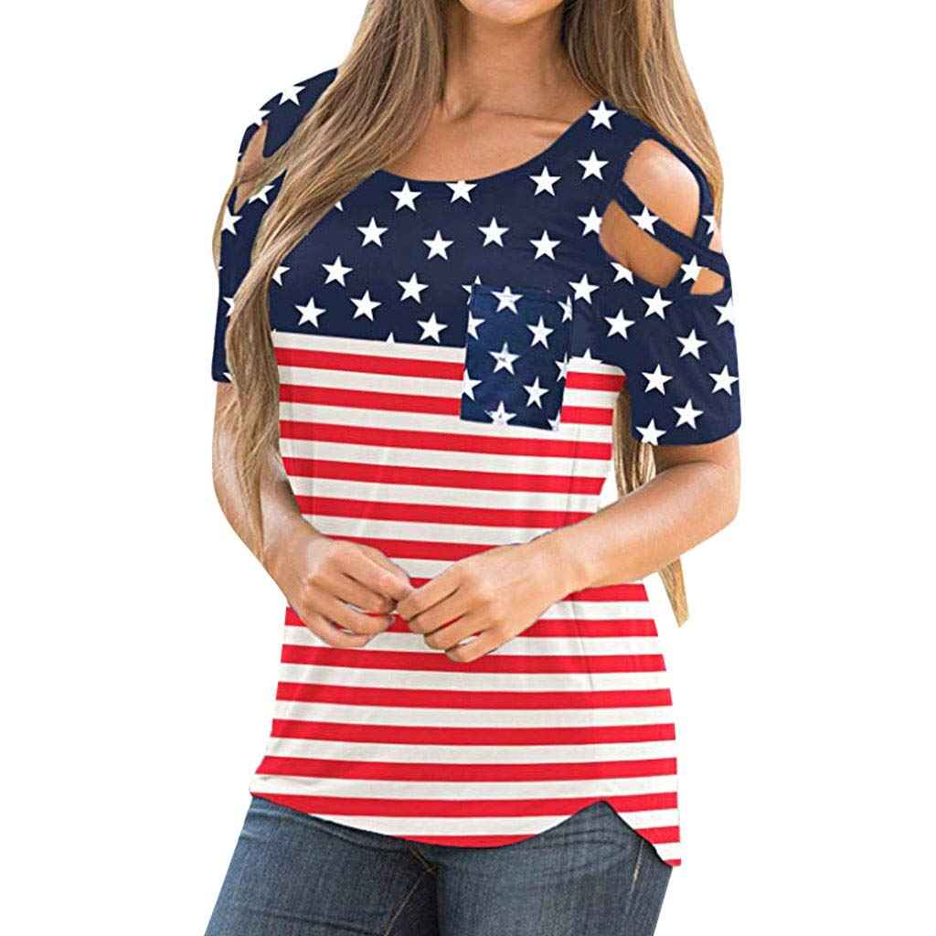 Women's American Flag T Shirt 4th July Patriotic USA Flag T Shirts Cold Shoulder Short Sleeve Stripes Printed Casual Summer Blouse Tops
