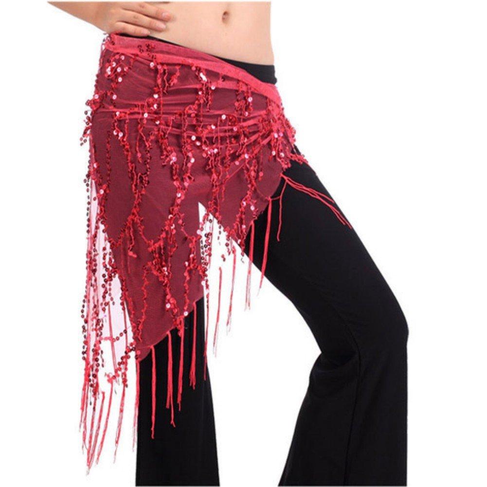 Donna Sciarpa di Danza Donna Chiffon Dangling Monete doro Sciarpa di Danza del Ventre Traspirante per Bambine Adulti Tbest Sciarpa di Danza del Ventre