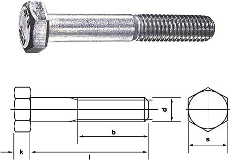 DIN 931 8.8 M12 x 160 verzinkt 5 Stk Sechskantschraube mit Schaft