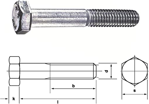Sechskantschrauben mit Schaft DIN 931 Edelstahl A2 M 10 M 12