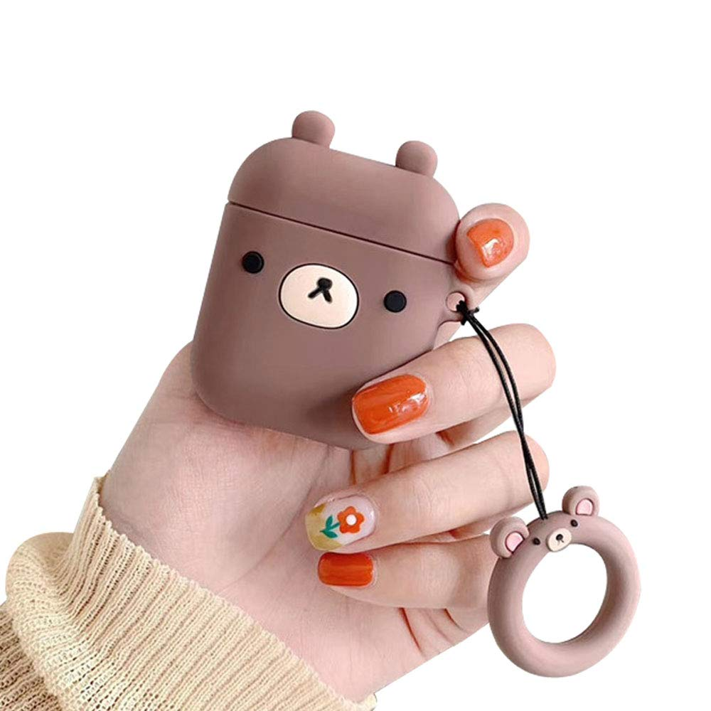BONTOUJOUR AirPods Case, Super Cute Creative Fun Animals Shape TPU Silicone Cover Protective Skin for Apple AirPods 1&2-Brown Bear