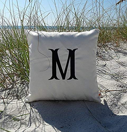 Letter Pillow Embroidered Pillow Fishtail Initial Pillow Cover Monogrammed Pillow