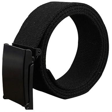 Gespout Ceinture Homme Femme Tissu Noir Casual Sans métal 110cm Pour Sports  Voyages Shoppings Jeans 484399dce16