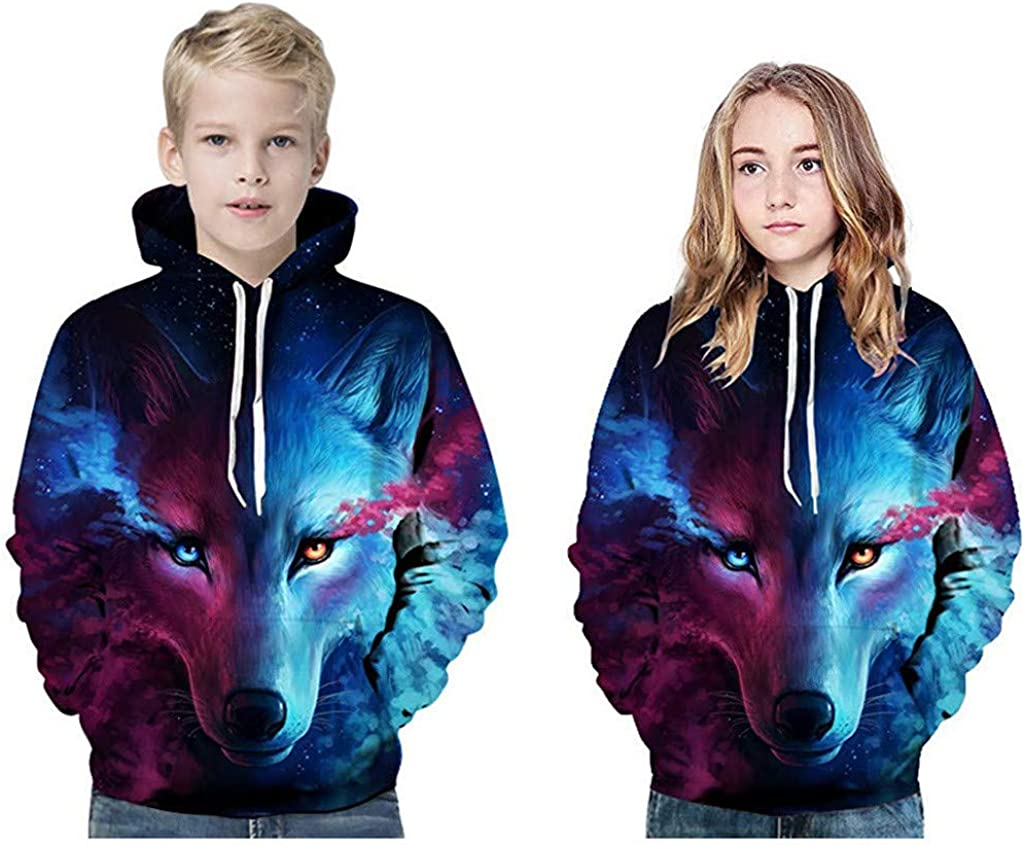 Puyujin Teen Kids Girl Boy Galaxy Fleece Print Cartoon Sweatshirt Pocket Pullover Hoodie