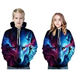 Jshuang Unisex 3D Realistic Wolf Printed Sweatshirt Kids's Pullover Novelty Hoodies Drawstring Pocket