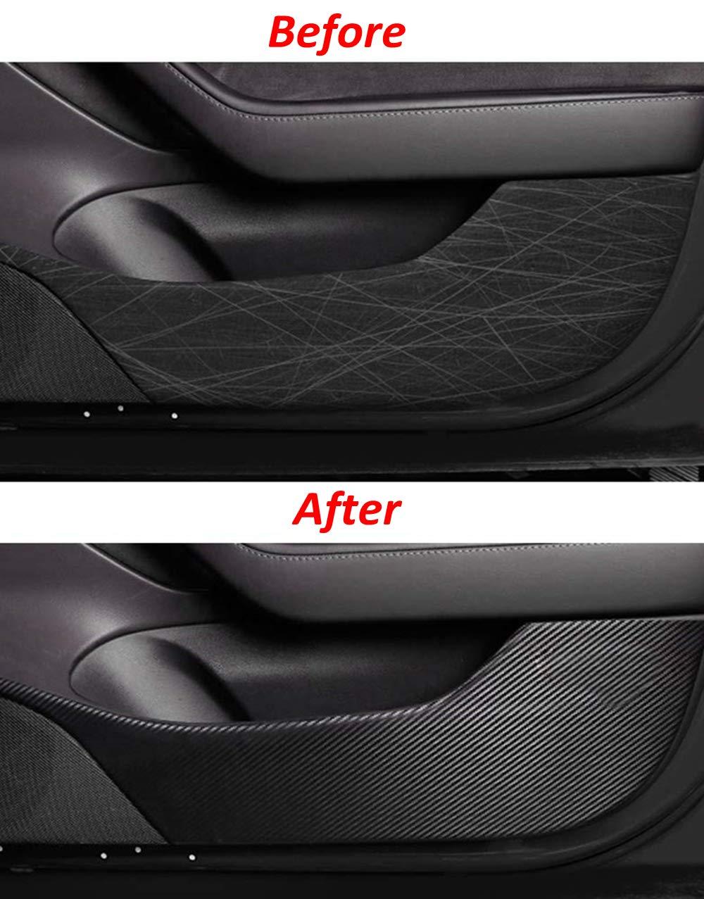 Upgrade Version Magicalmai Tesla Model 3 Door Anti-Kick Vinyl Wrap Sticker Door Edge Guard Protector Carbon Fiber 4PCS//Set