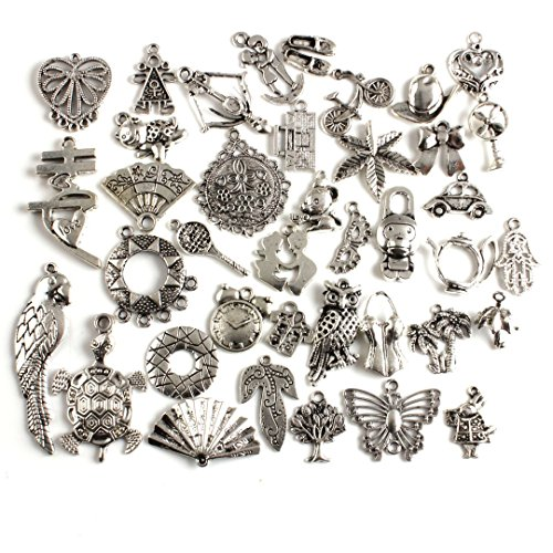 LQZ(TM) 40Pcs Assorted Tibetan Silver Charms Pendants for Jewelry Making and Crafting