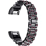 For Fitbit Charge 2, bayite Replacement Metal Bands with Rhinestone Bling Fitbit Charge 2 Straps Bracelet Silver Rose Gold Black
