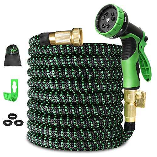 Expandable Garden Hose 75ft Flexible Expanding Water Hose, 75 Lightweight Gardening Outdoor Hose, Yard Cloth Hoses with 3/4 Inch 100% Solid Brass Fittings 9 Function Hose Nozzle (12 Months Guarantee)