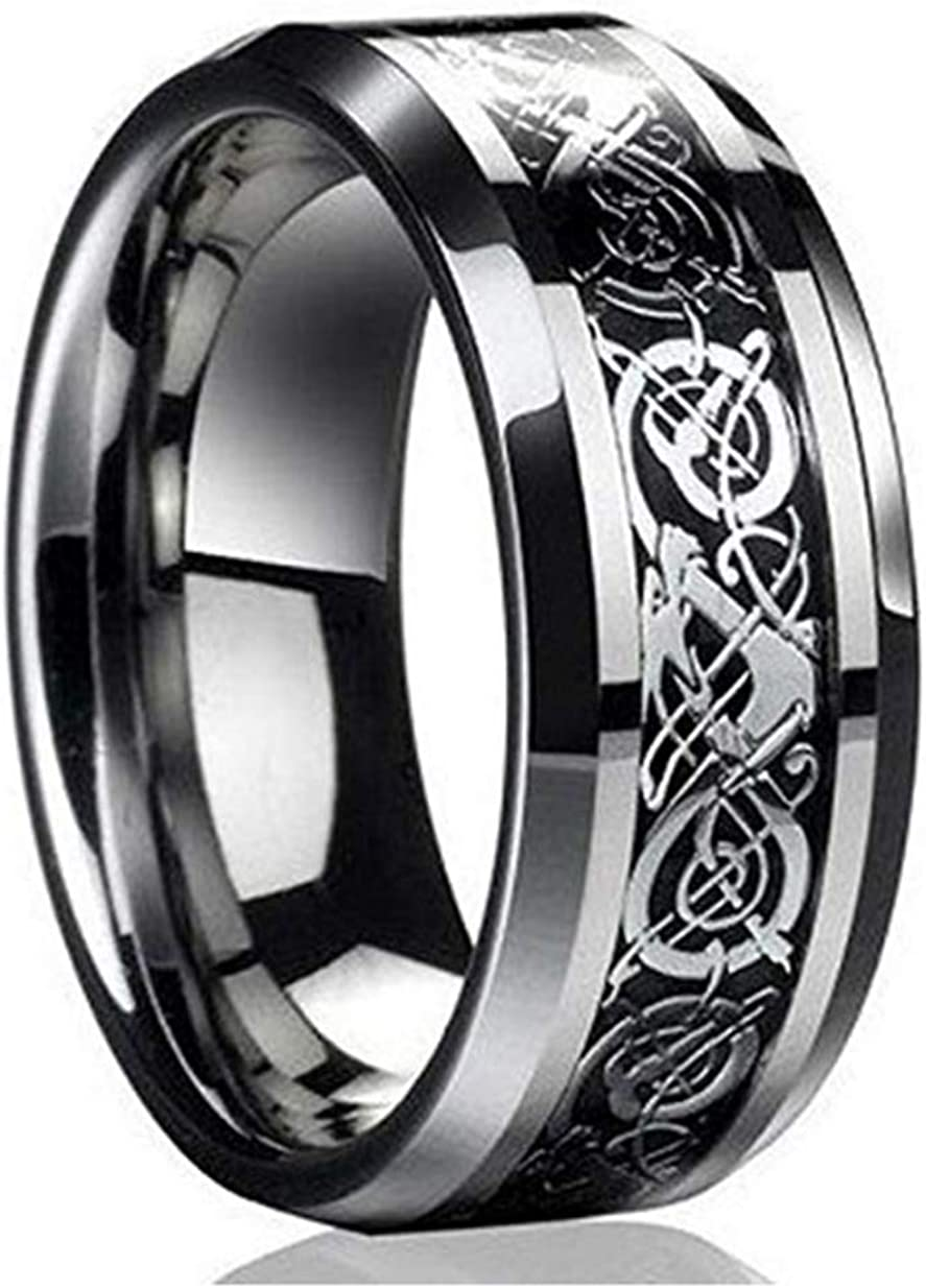WoCoo Ring New Silver Celtic Dragon Titanium Stainless Steel Men's Wedding Band Rings,Great Chioce for Gift