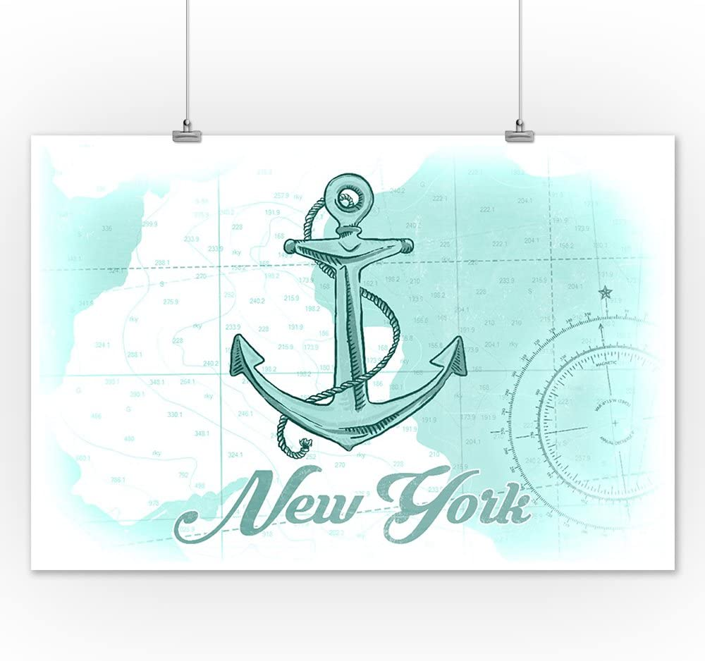 Anchor New York Coastal Icon 36x54 Giclee Gallery Print, Wall Decor Travel Poster Teal