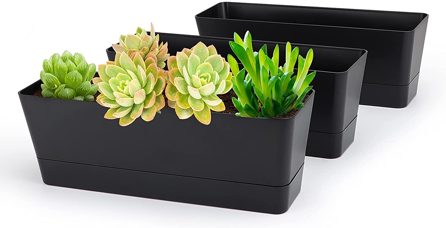 Black Rectangle Window Boxes, Greaner 3 Pack 12x3.8 Inch Herb Planters with Tray, Indoor Succulent Cactus Mint Plastic Pot for Windowsill , Garden Balcony, Office Outdoor Decoration