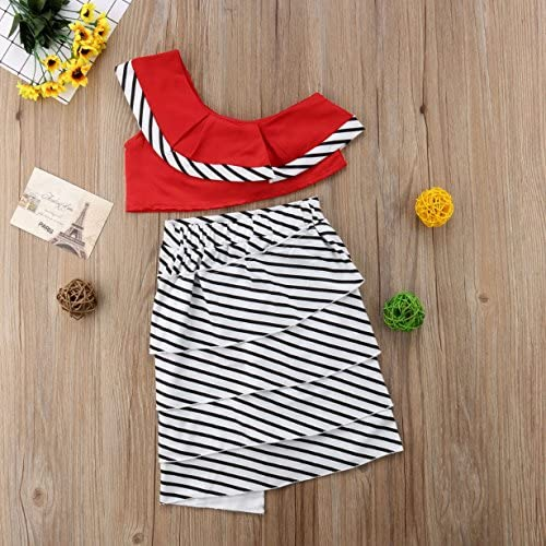3-10 Years Baby Girl Summer 2Pcs Off Shoulder Tops Striped Skirt Outfits