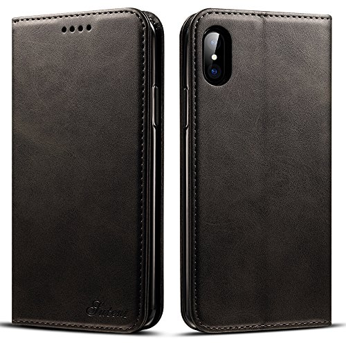 Iphone X/iPhone 10, 5.8 inches, PU Leather Wallet Phone Case Iphone Case with Card Holder Kickstand Protective Flip Cover Black Cover