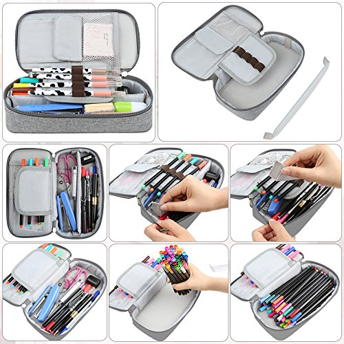 Homecube Pencil Case, Big Capacity Pen Case Desk Organizer with Zipper for School & Office Supplies - 8.74x4.3x2.17 inches, Gray by Homecube (Image #4)