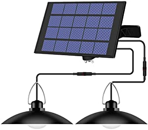 Solar Powered Shed Light,Solar Shed Light,Pendant Lamp Led Solar Hanging Chandelier Waterproof with 2 Heads for Outdoor Garden Yard Patio Corridor